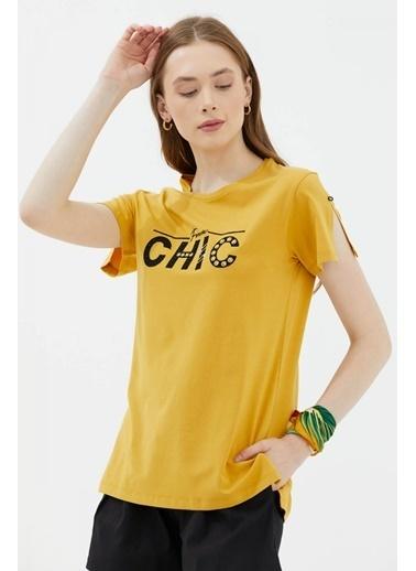 Sementa Nakış Detaylı Yanları Yırtmaçlı Tshirt - Hardal Hardal